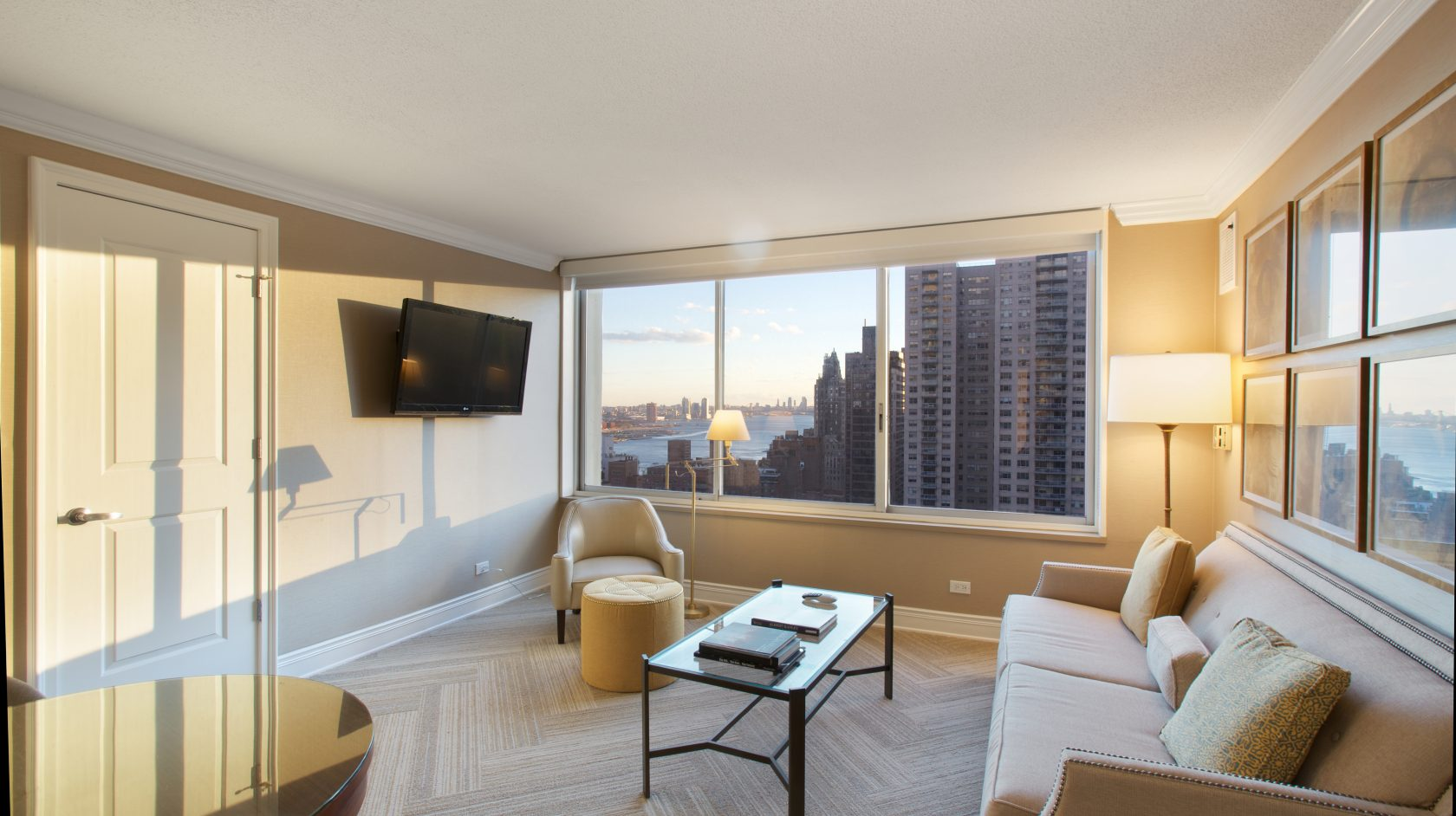 living room view in nyc suite at sutton court