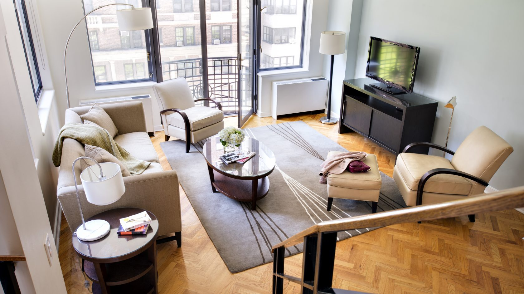 living room at sutton court townhomes in nyc